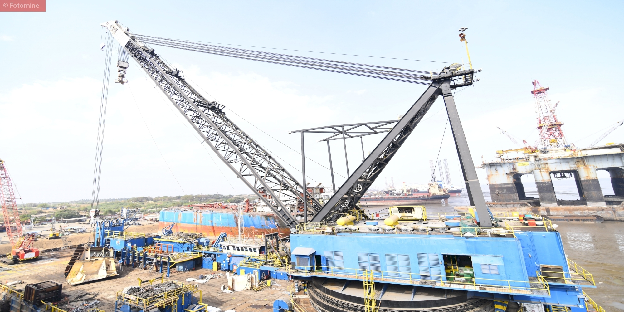 """The Largest Crane Barge (1100 SWL) used in Ship Recycling, PriyaBlue Industries Pvt Ltd India"