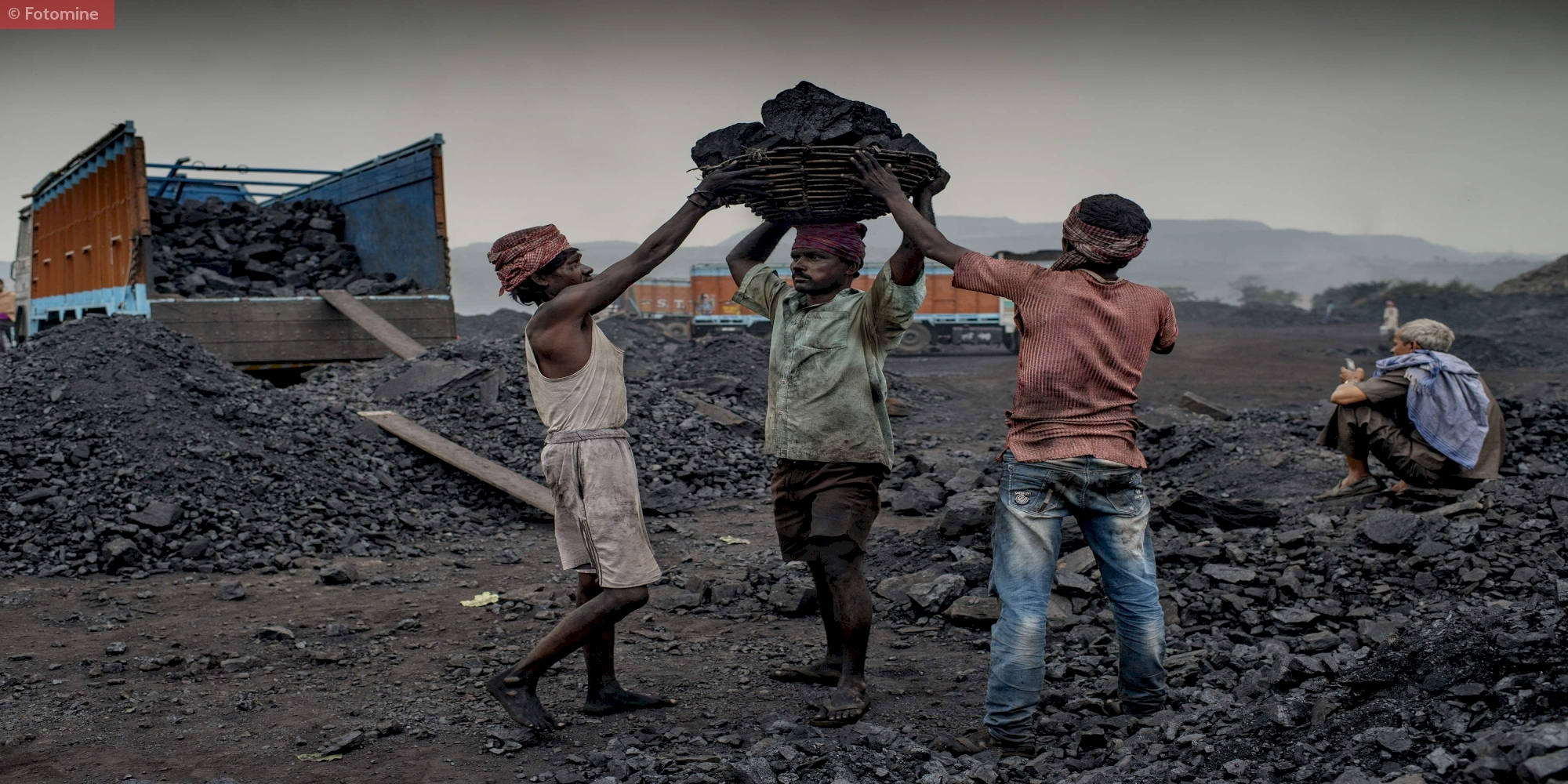 Workers Loading Coal at One of the Mines in East India
